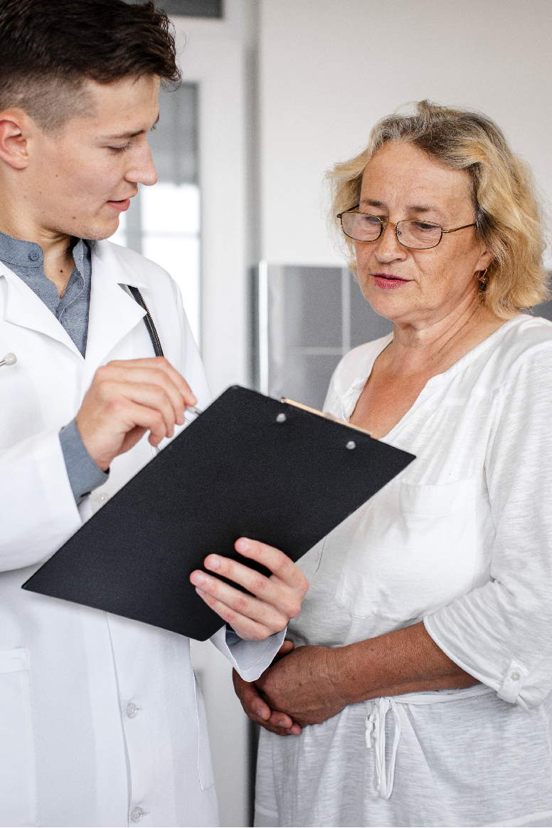Doctor reviewing lab results with patient